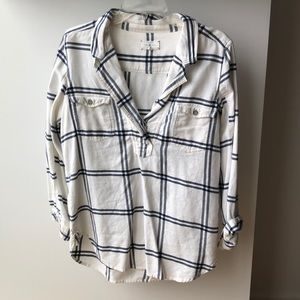 Lou & Grey Navy/White Plaid Shirt